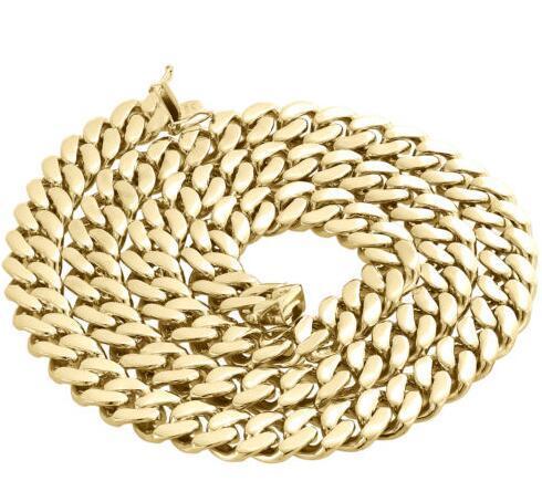 Мужские 10 K желтое золото полые Майами кубинский звено цепи 13 мм коробка Застежка