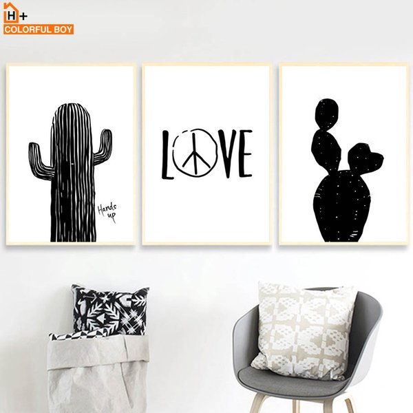 COLORFULBOY Wall Art Print Black White Nordic Poster Cactus Quotes Canvas Painting Pop Art Wall Pictures For Living Room Decor
