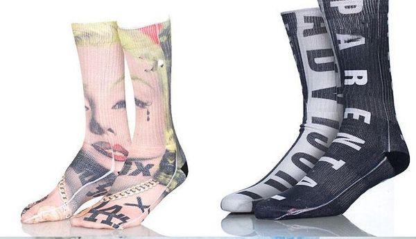 top popular 100pcs=50pairs Sports Socks Big Kids Men 3D Printed Stocking New Pattern Hip Hop Cotton Sock Unisex SOX Animal Cartoon Skull 2020
