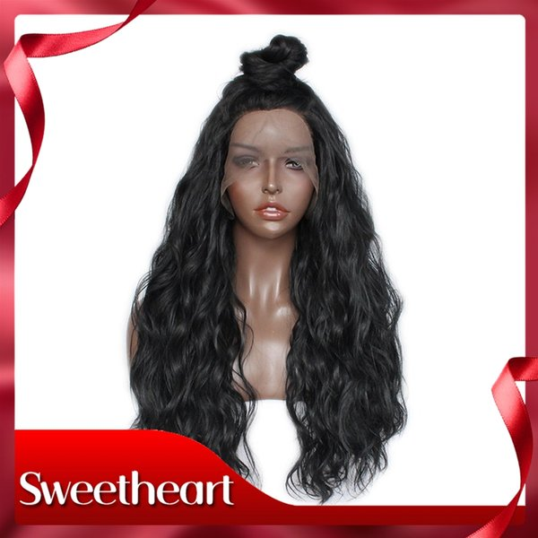 New Sexy Style Black High Ponytail Long Hair Curly Wavy Wigs with Baby Hair Loose Wave Synthetic Lace Front Wigs for Black Women
