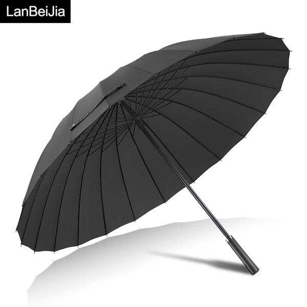 Большие женщины зонтик дождь женщины 24K ветрозащитный мужской трость зонтики мужчины кожа Гольф Солнце Paraguas красочные зонтик тростника