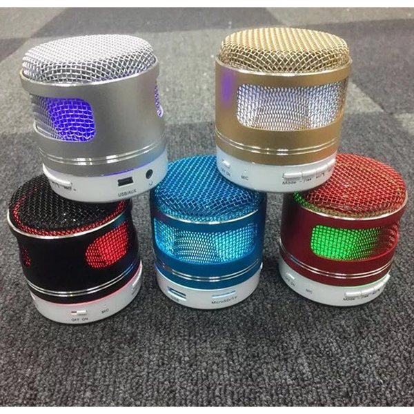top popular Mini BQ-Q9(A9D) LED Bluetooth With Mic Speaker Stereo Sound Support FM Radio TF Card Loudspeaker Metal Surface Portable Music Play 2019