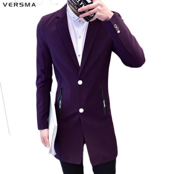 VERSMA Purple Red Men Chaqueta larga de traje chaqueta Hombres BF Casual Fashion Slim Fit Última capa de diseño Stylish Blazers Trajes Ropa de fiesta