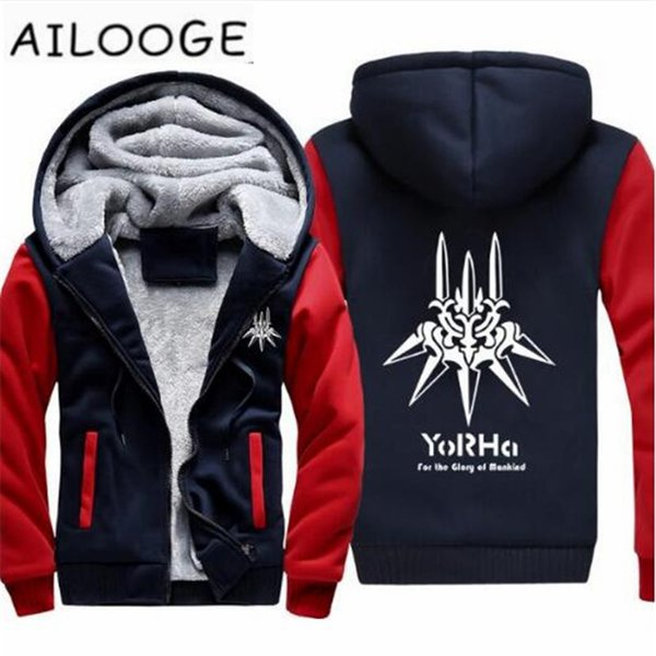 New NieR: Automata Hoodie Game yorha 2B Coat Jacket Winter Men Thick Zipper NieR Automata Sweatshirt