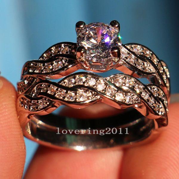 Free shipping Jewelry Women Round Cut CZ 10kt White Gold Filled Gf Simulated Diamond Wedding Ring Set Engagement Band Size 6-10