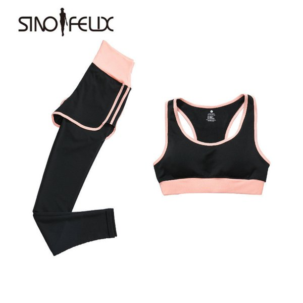 Сино Феликс женщины йога устанавливает спортивные наборы дышащий фитнес  тренировки тренажерный зал работает спортивный бюстгальтер + брюки плюс  размер S- ... adc2a6de5ac