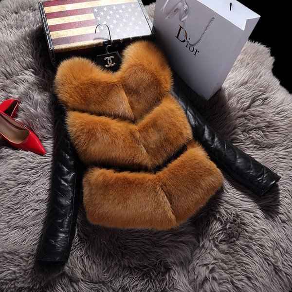 2018 Autumn Winter Imitation Leather Patch Faux Fox Fur Coat Ladies Short Design Long Sleeve Fur Jacket Plus Size Fit 3XL Coats