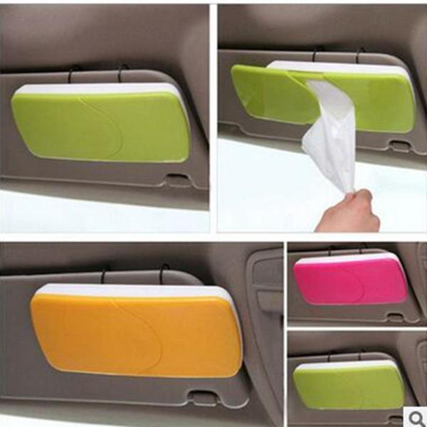 Wholesale- bathroom Car Sun Visor Sun-Shading Board car Tissue Box Plastic Hanging Pumping Paper Napkin Holder with Clip Pink/Green/Orange