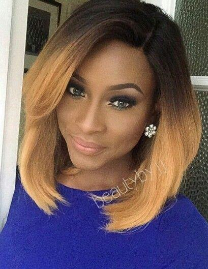 Brazilian Virgin Human Hair Glueless Full Lace Ombre Wig Bob Style Two Tone 1B 27 Bob Wig Ombre Lace Front Wigs For Black Women