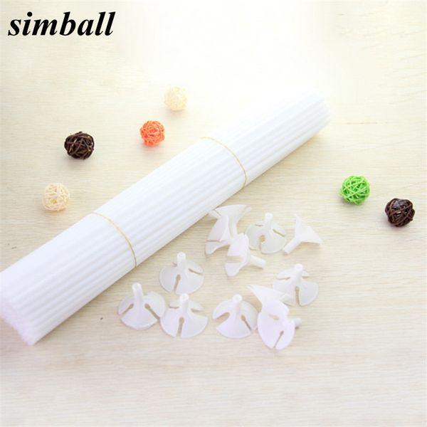 decor 10set/lot 32cm Latex PVC Stick Rods Plastic Balloon Accessories Balloon Holder Sticks White Cup Wedding Decoration