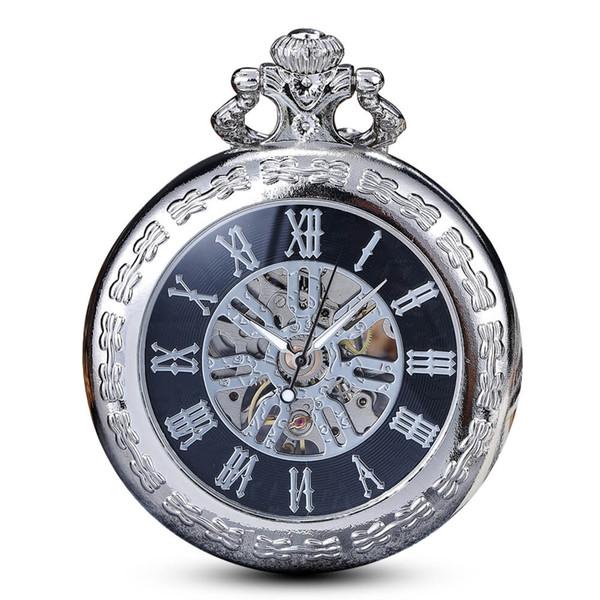 Clásico romano Mecánico Relojes de bolsillo para hombre Oro Esqueleto Steampunk Reloj de bolsillo Cadenas Fob Clips Reloj para Hombres Regalos Relogio