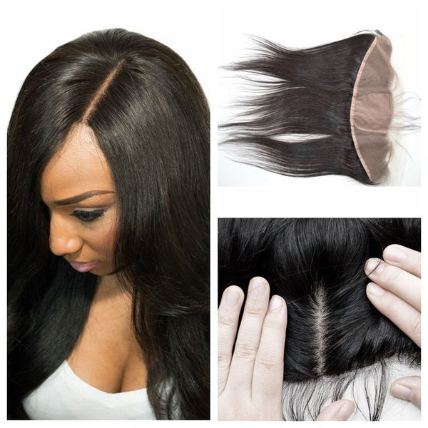 Indian Straight Human Hair Silk Base Frontal Closure Bleached Knots Virgin Natural Lace Frontals Shedding Free