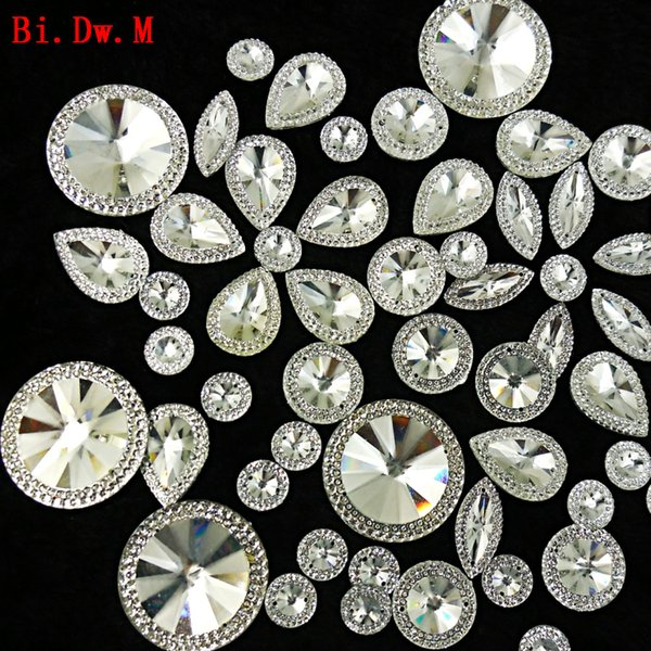Nice Round Marquise Pear Resin Rhinestone Mix Silver Strass Crystal Stones For Crafts Sewing Home And Garden Wedding Decoration