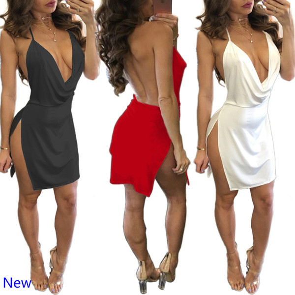 ab643b7dae8 Summer Women Lace Dress Sexy Backless V-neck Beach Dresses 2018 Fashion  Sleeveless Spaghetti Strap