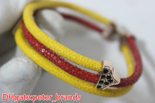 Stingray genuine leather bracelet red yellow with rose gold metal 18 19 20cm men's bangles luxury fashion colors jewelery