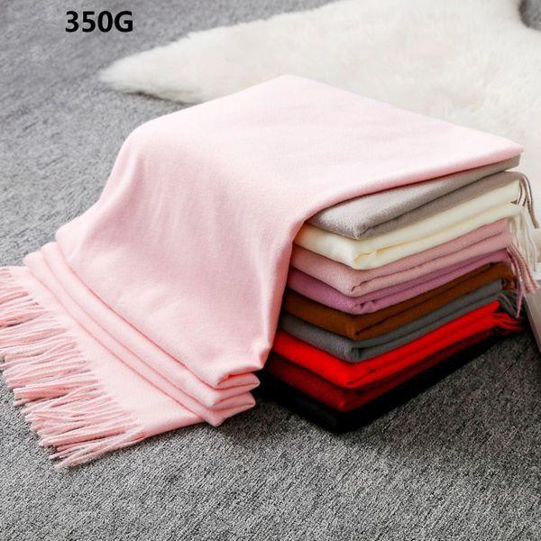 Winter Cashmere thicken Scarf Hijab Women Solid Pink Warm Soft Scarves & Shawls Ladies Pashmina Cape Wraps 360g