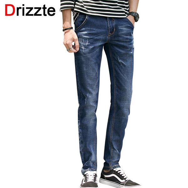 Wholesale-Drizzte Men's Jeans Stretch Blue Denim Trendy Scratched Slim Fit Jean Mens Boys Pants Size 30 32 34 35 36 38