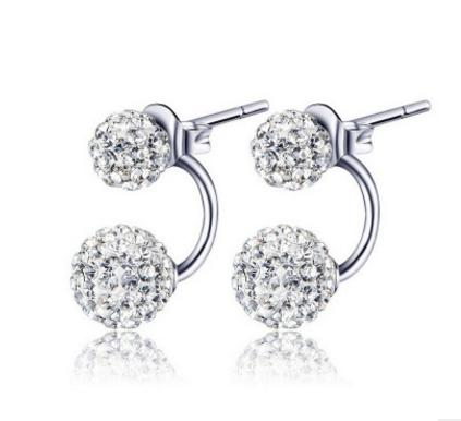 New Real 925 Sterling Silver Sparkle Round Shambala Austian Crystal Ball Stud Earrings For Women Wedding Party Fashion Jewelry