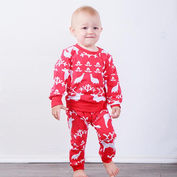 Bebê Natal Elk Ternos Recém-nascidos Do Floco De Neve Veados Dot Impresso Outfits Menina Menino Roupas De Grife de Manga Longa Pavão Inverno Camisola Calças 6 M-4 T