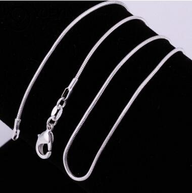 1MM 925 sterling silver smooth snake chains women Necklaces Jewelry snake chain size 16 18 20 22 24 26 28 30 inch
