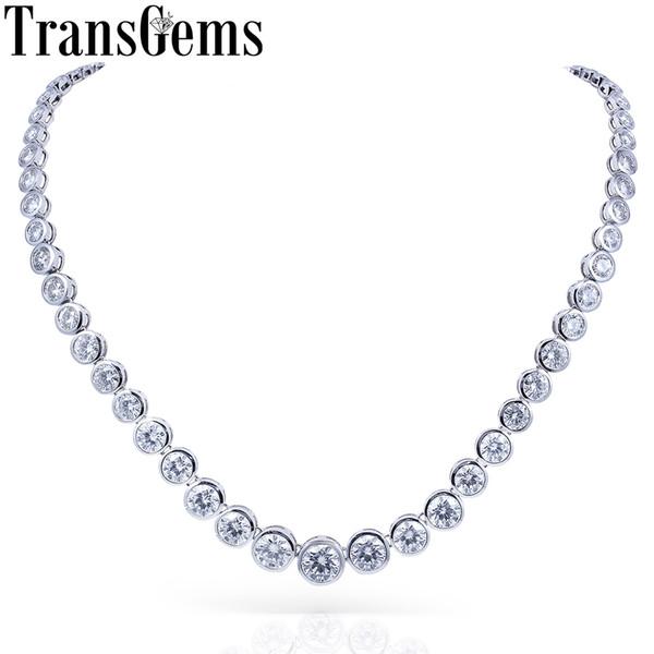 TransGems 13CTW Lab Grown Creó Moissanite Eternity Diamond Chocker Necklace Oro blanco de 18 quilates para mujer Joyería Boda