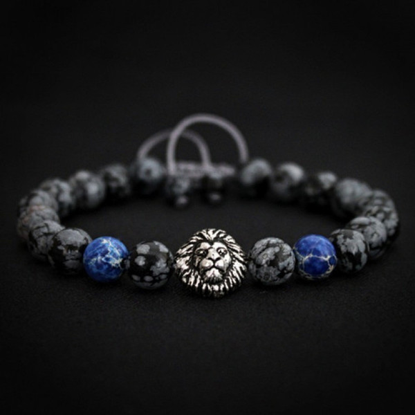 Lion Head Beaded Bracelet Men 2018 Fashion New Classic Stone Charm Bracelets & Bangles For Men Accessories Gift