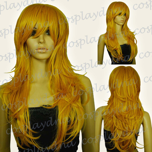 Free shipping>>> Heat Resistant Panty Stocking Gold Blonde Long Wavy Cosplay Wigs