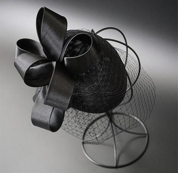 Elegant 2018 Top Quality Birdcage Veils Bridal Wedding Hat with Clip Black Tulle Wedding Party Evening Fascinator Hats Wedding Accessories