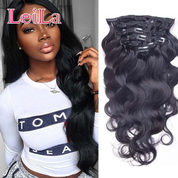 top popular Full Head Clip In Human Hair Extensions Natural Black Hair Clip In 100-140 g Peruvian Body Wave Hair Clip in Extensions 2019