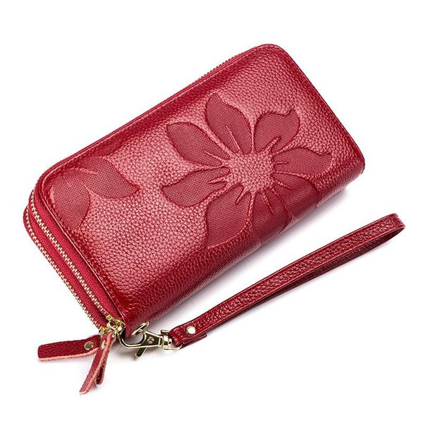 Women's Double Zipper Embossed Long Wallet Cowhide Leather Hand Wallet For Ladies Floral Genuine Leather Luxury Purse Femme