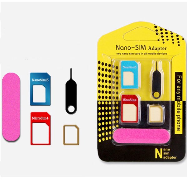 5 in 1 Metal Sim Adaptor Kit Nano to Micro/standard SIM Card Adapter With retail package iphone 6 4 5 OTH491