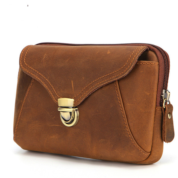 Waist Bag Crazy Horse Skin 7 inch Mobile Phone Bag Double Layer Cover Casual Leather Buckle Wearable Leather