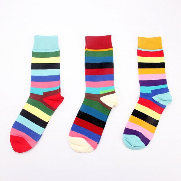 Moda Pamuk Çorap Gökkuşağı Renk Tatlı Dondurma Çorap Erkekler Kadınlar Kızlar Için Bahar Yaz Sonbahar Pamuk Ince Çorap