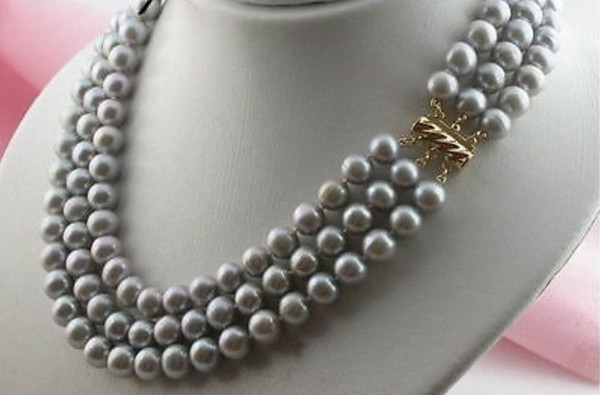 """top popular NEW 3 ROW 8-9MM tahitian silver gray PEARL NECKLACE 16-18"""" 2021"""