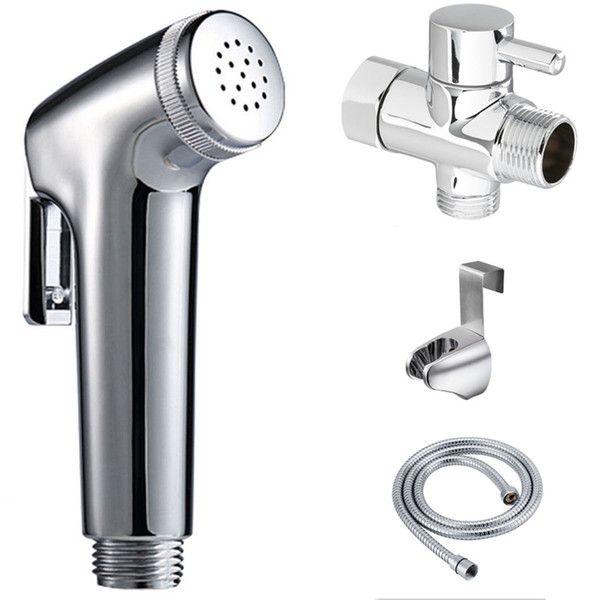 "best selling Free SHipping Toilet Bathroom Women's Handheld Portable bidet KIT Diaper Sprayer SET Shattaf head+hose+ wall holder+7 8"" Brass T-adapter"