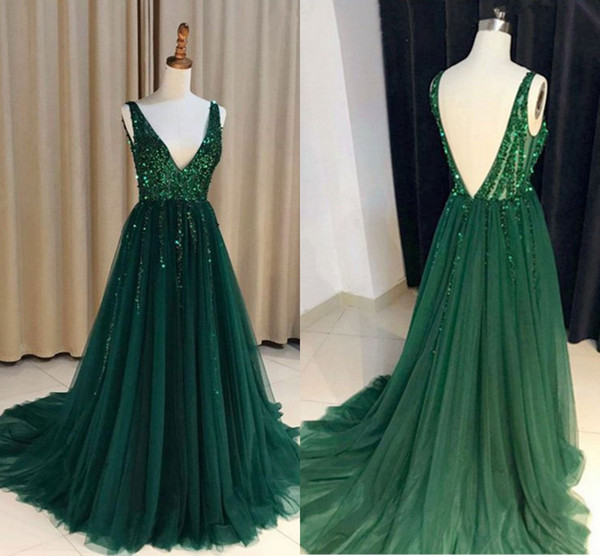 Dark Green Sexy Prom Dresses 2018 Deep V Neck Beads Backless Crystals A Line Long Real Photos Evening Party Gowns Vestidos De Fiesta