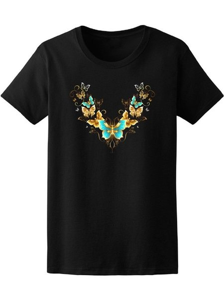 Gold Jewelry Butterflies Women's Tee -Image by Shutterstock Funny free shipping Unisex Casual tee gift