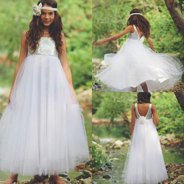 Spark Sequin Top Junior Bridesmaid Dresses Aline Scoop Ankle Length Tulle Fall Backless Flower Girl Dresses For Wedding Party Rustic Style