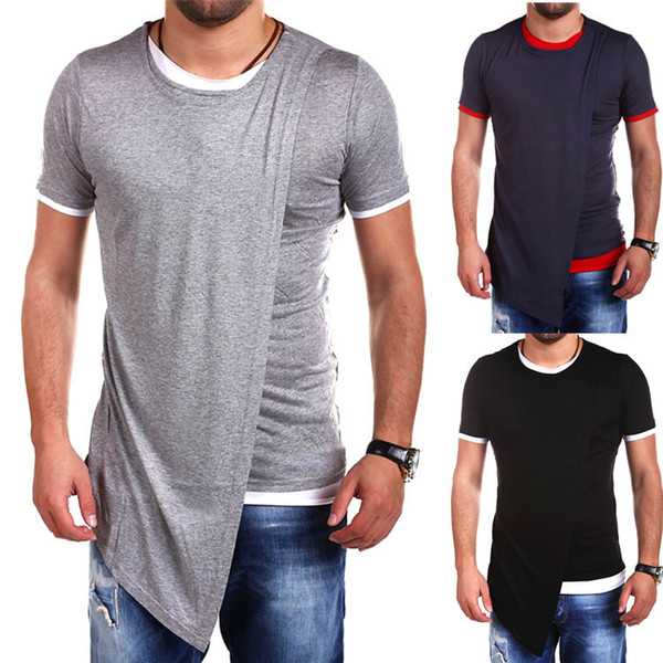 New Arrival Mens Long Tshirts Spring Autumn Short Sleeve Fashion Casual Split Big Plus Size Top Tees Hip Hop Street Style Summer T-shirt