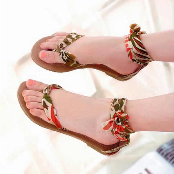SJJH 2018 Printed Fabric Flip Flops Cover Heel Flat Sandals Casual Dressy Shoes for Fashion Woman with Large Size Available A446