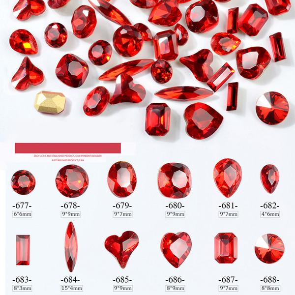 10PCS Red Nail Art Rhinestones Flatback Crystal Butterfly Moon Oval Heart Designs Shiny Gems Jewelry 3d DIY Charm Decorations