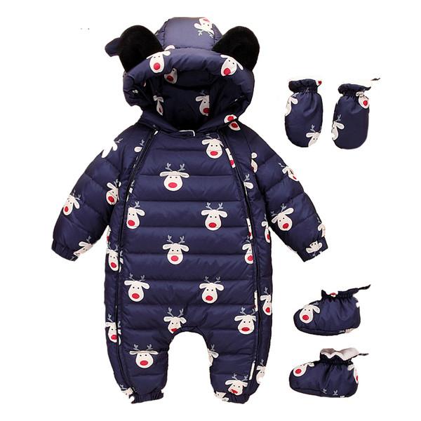 Russia Winter0-2years Girls Boys Baby children down jacket cartoon Infants climbingThicken Degrees Duck Down Clothes Gloves Set