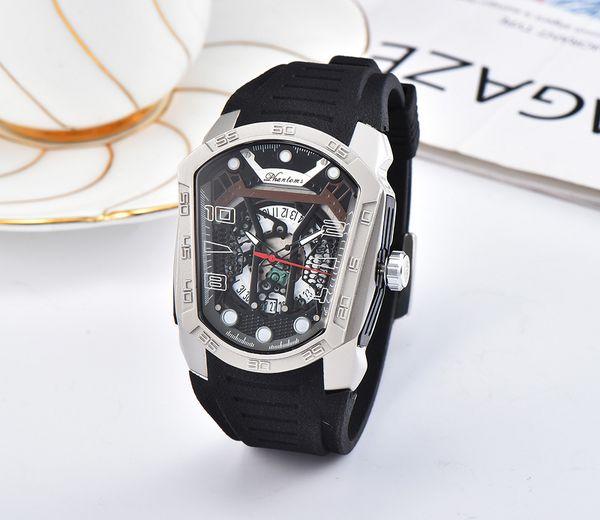 Nuevos relojes para hombre Gentalmen marca de lujo relojes mujer reloj de pulsera de goma marrón cuadrado cuadrado Mujer Relogio Montre Femme Reloj de los amantes