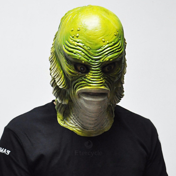 Creature from the Black Lagoon Green Latex Horror Big Mouth Fish Masks For Halloween Party Full Face Monster Mask