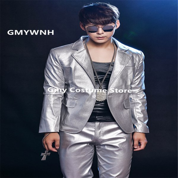 R63 Silver PU men suit singer stage performance wears dress dj host ballroom dance costumes party show model clothing outfits ds jacket show