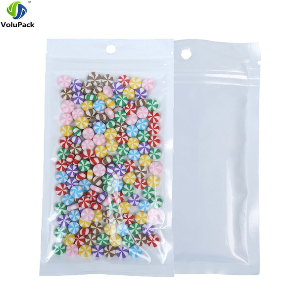 "12x20cm (4.75x7.75"") Translucent W/ Hang Hole zip lock packaging bag Recloseable plastic bag with zipper for Food Storage Bags"