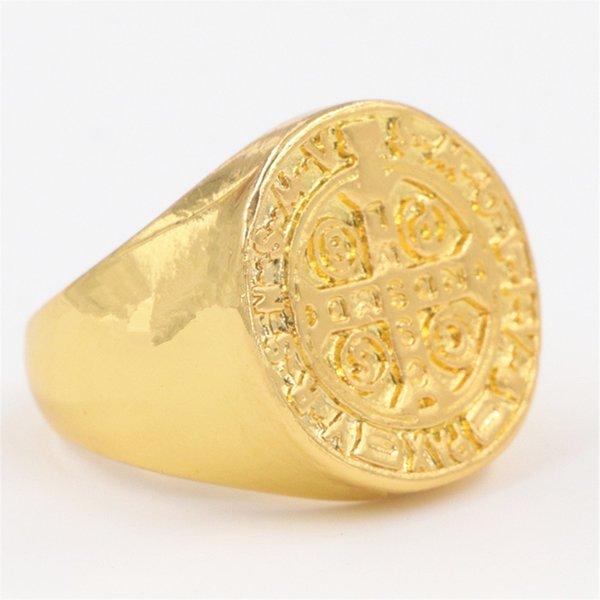 Anello in oro 18k placcato in oro 18k a forma di anello in argento a forma di croce