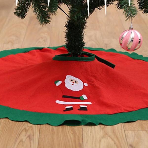 90CM Gonna albero di Natale rosso con bordo dorato Ruffle Edge Grembiule ornamenti di Natale per la decorazione di Capodanno