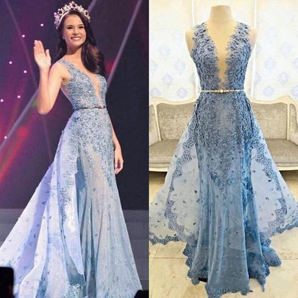 Light Sky Blue Appliques Lace Mermaid Evening Dresses Floor Length Beautiful Evening Gowns Custom Made Prom Dress