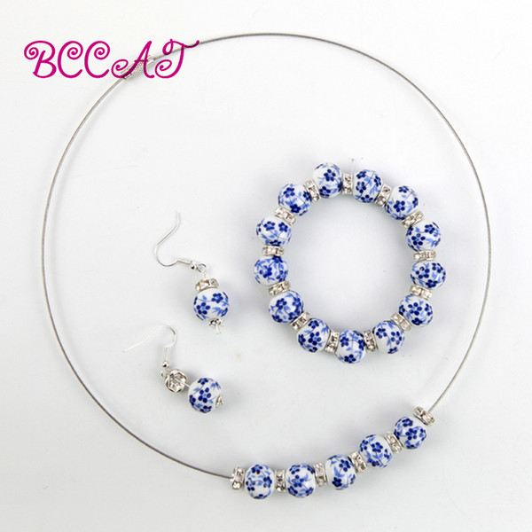 BCCAT fashion 5 color handmade ceramic beads jewelry set bracelet necklace earring for women loves gift